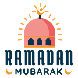 Ramadan mubarak crescent mosque badge sticker
