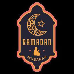 Etiqueta do emblema da meia-lua da estrela crescente de Ramadan Mubarak