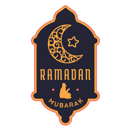 Ramadan mubarak crescent star half moon badge sticker