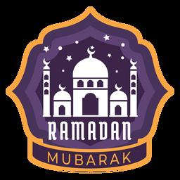 Ramadán mubarak media luna mezquita creciente etiqueta engomada insignia