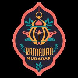 Etiqueta engomada de la insignia de la vela de la luz de la lámpara de Ramadán Mubarak
