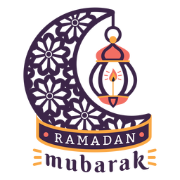 Ramadan mubarak lamp light candle crescent badge sticker