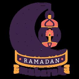 Ramadán mubarak lámpara luz vela media luna insignia pegatina