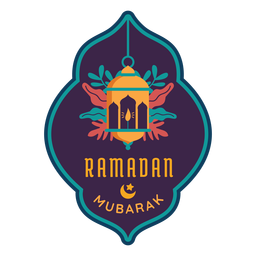 Ramadan mubarak lantern lamp candle light sticker badge