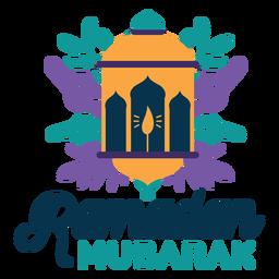 Insignia de la etiqueta engomada de la vela de la luz de la lámpara de la linterna de Ramadán Mubarak