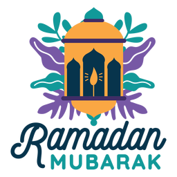 Ramadan mubarak lantern lamp light candle sticker badge