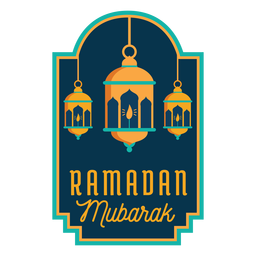 Ramadan mubarak lantern light lamp candle sticker badge