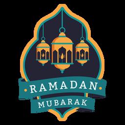 Etiqueta engomada de la insignia de la vela de la lámpara de luz de Ramadán Mubarak