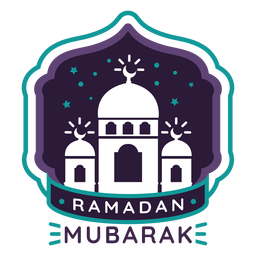 Ramadan mubarak mosque crescent badge sticker