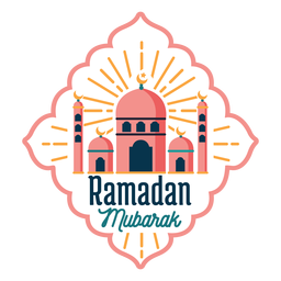 Ramadan mubarak mosque crescent half moon star badge sticker