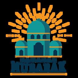 Ramadán mubarak mezquita etiqueta engomada de la media luna