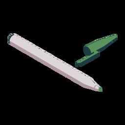 Bolígrafo de punta blanda con tapa verde plana