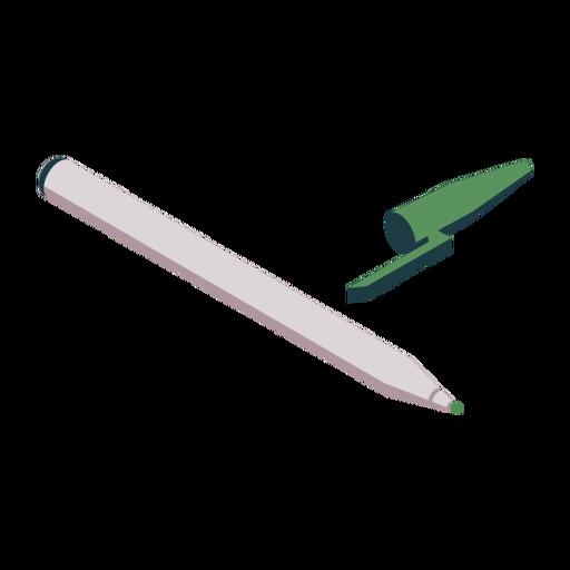 Soft tip pen pen lid green flat Transparent PNG