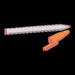 Caneta com ponta macia e tampa laranja