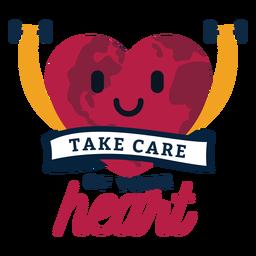 Cuide do seu emblema do coração do coração adesivo