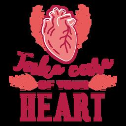 Cuida tu etiqueta engomada de la insignia de la rama del corazón del corazón