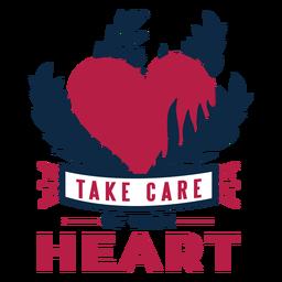 Cuide do seu coração coração ramo distintivo adesivo saúde