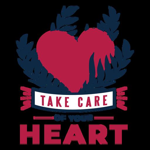 Cuida tu corazón corazón rama insignia pegatina salud Transparent PNG