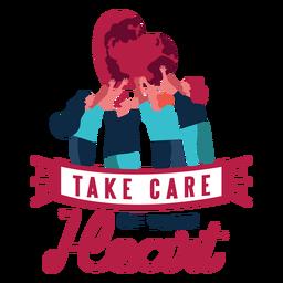 Kümmern Sie sich um Ihrem Herzherzmannfrauen-Ausweisaufkleber