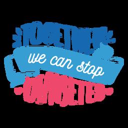 Juntos, podemos parar o adesivo de distintivo de coração de fita de diabetes