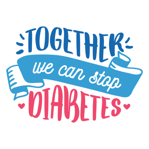 Together we can stop diabetes ribbon heart badge sticker Transparent PNG