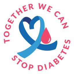 Together we can stop diabetes ribbon heart drop badge sticker