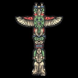 Totem estátua ídolo pilar colorido desenho