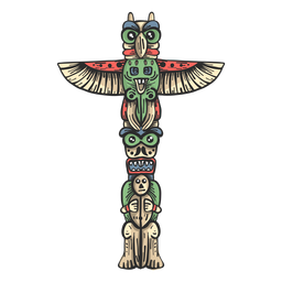 Totem statue idol pillar colored sketch
