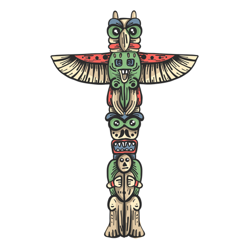 Totem statue idol pillar colored sketch Transparent PNG