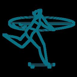 Curso de prancha de skate de mulher