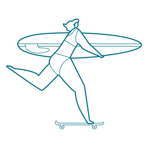 Woman skateboard surfboard stroke Transparent PNG