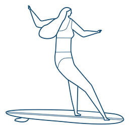 Woman surfboard stroke