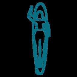 Mujer nadar tabla de surf trazo