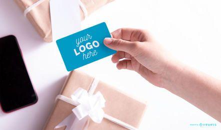 Design de maquete de cartão de presente