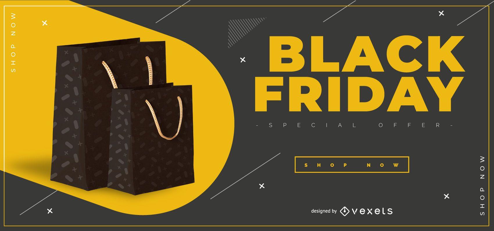 Modelo de banner de bolsas pretas sexta-feira