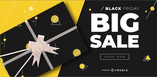 Banner editável de sexta-feira grande venda preto