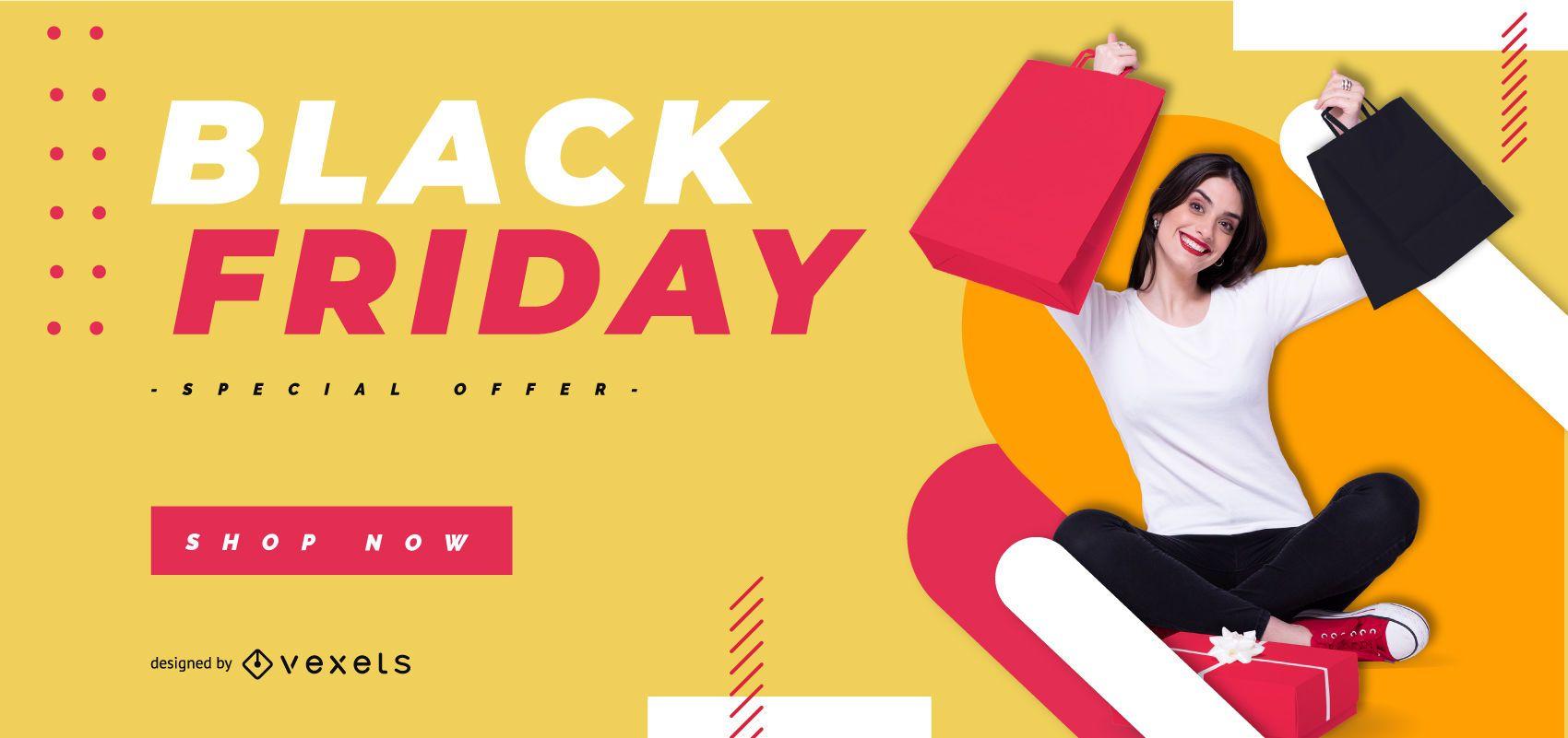 Modelo de banner preto colorido de sexta-feira