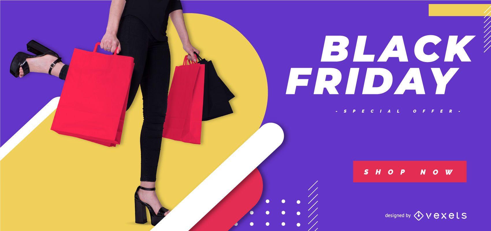 Modelo de banner colorido de sexta-feira negra