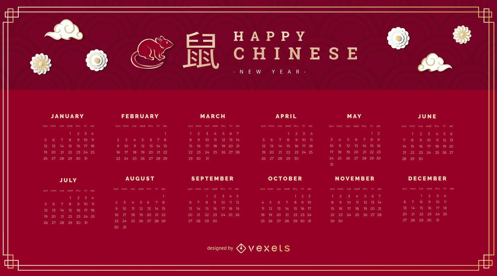 Calendario de año nuevo chino 2020
