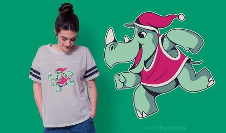 Diseño de camiseta navideña de rinoceronte