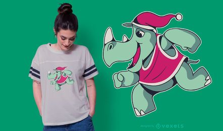 Rhino christmas t-shirt design