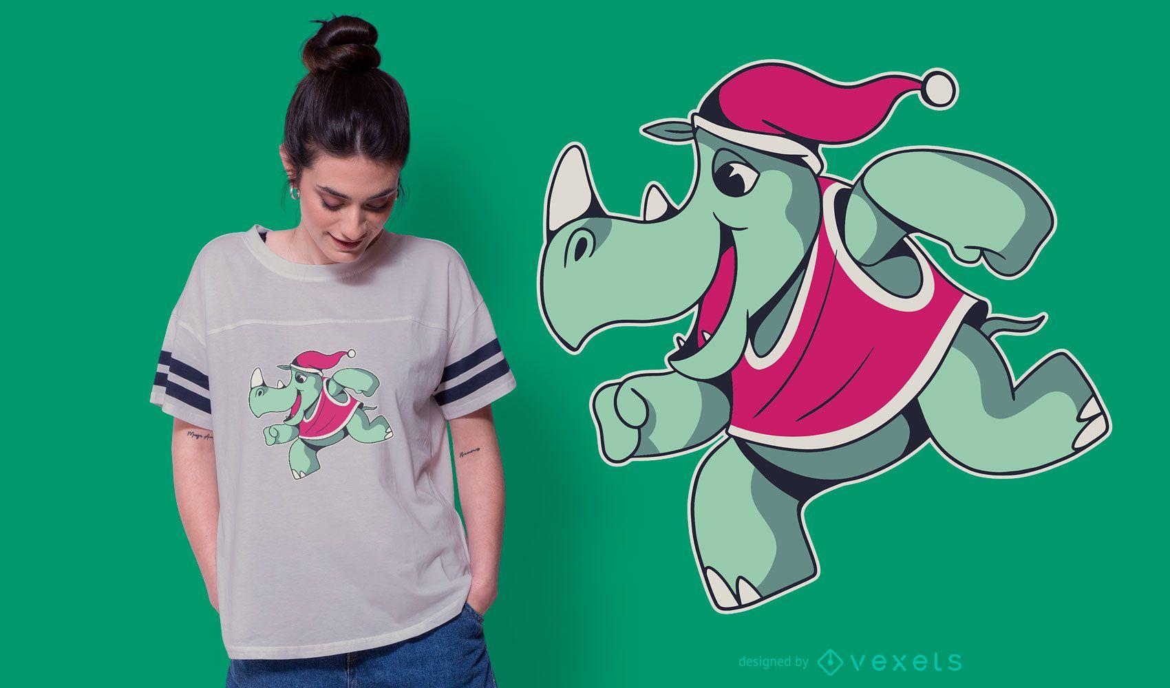 Rhino christmas t-shirt design