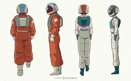 Conjunto de caracteres de astronautas