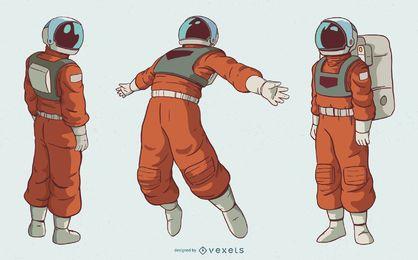 Conjunto de caracteres de homem astronauta