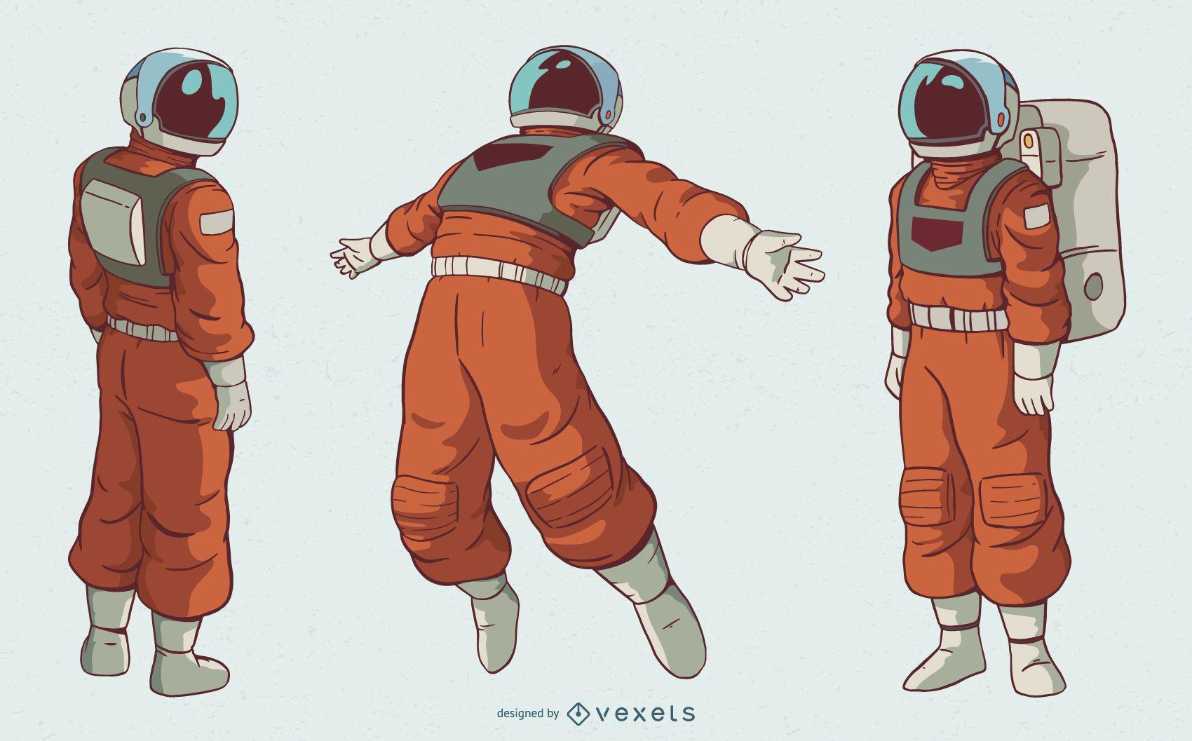 Astronaut man character set