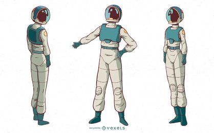 Astronaut woman character set