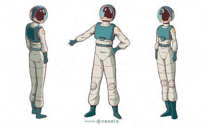 Conjunto de caracteres de mujer astronauta