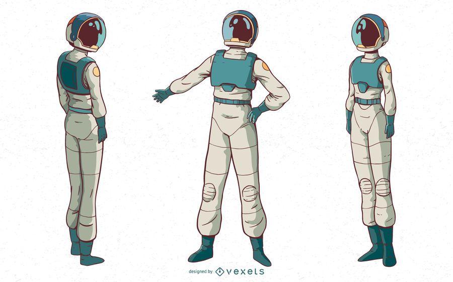 Astronaut woman character set
