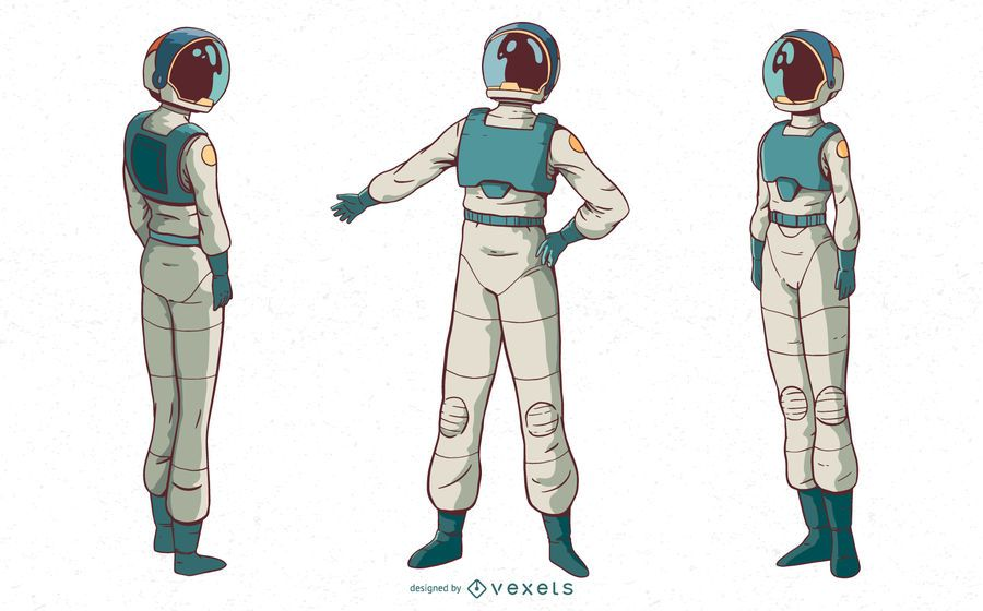 Conjunto de caracteres de mulher astronauta