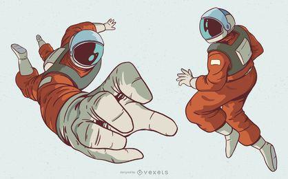 Conjunto de ilustração de personagem de homem astronauta